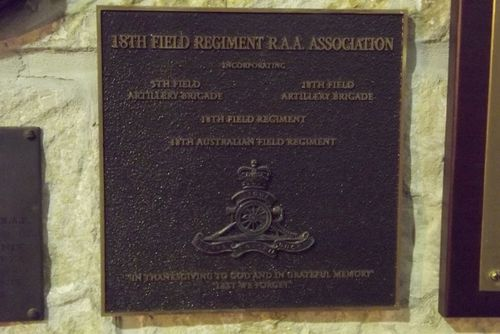 18th Field Regiment Assn Plaque : March 2014