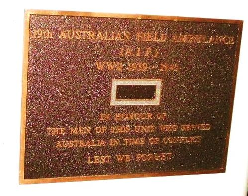 19th Field Ambulance Plaque