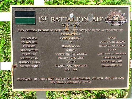 1st Battalion AIF 1914 1918 Plaque