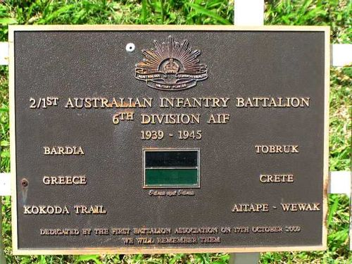 2/1st AIF 6th Division Plaque / March 2013