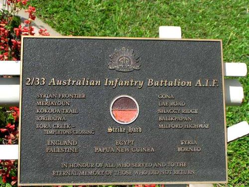 2/33 Battalion Plaque/ March 2013