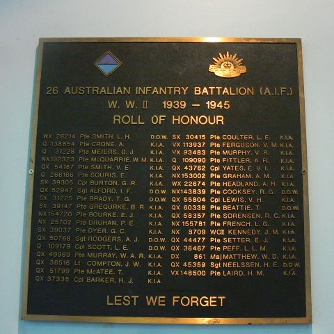 26 Australian Infantry Battalion Roll of Honour : 23-April-2011