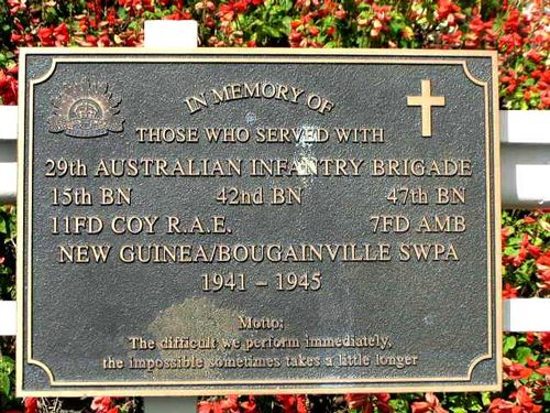 29th Australian Infantry Brigade Plaque / March 2013