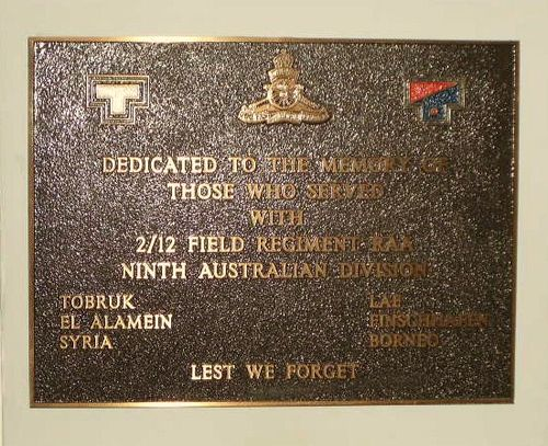 2 12 Field Regt Plaque