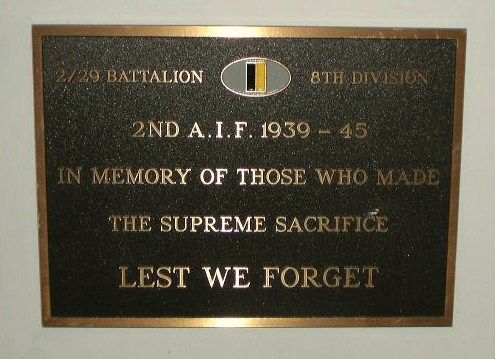 2 29 Battalion 8th Division Plaque