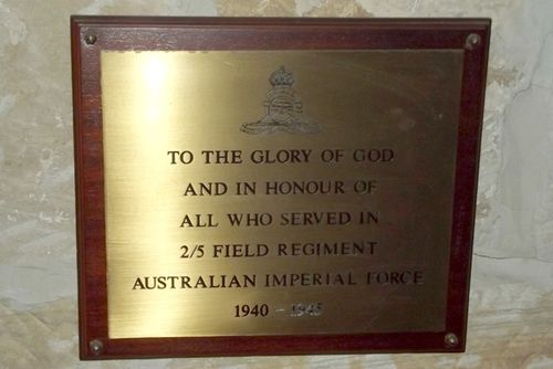 2-5th Field Regiment Plaque : March 2014