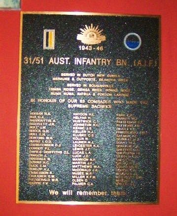 31 51 Australian Infantry battalion Plaque