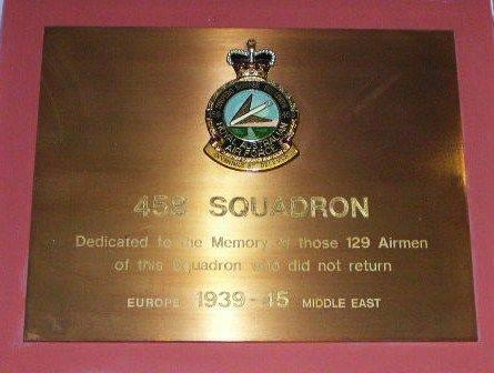 458 Squadron Plaque