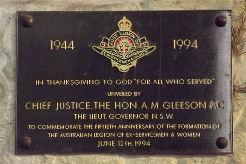 Aust Legion Ex-Service Plaque : March 2014