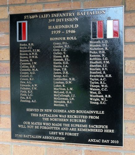 57/60th Battalion Honour Roll : 08-June-2012