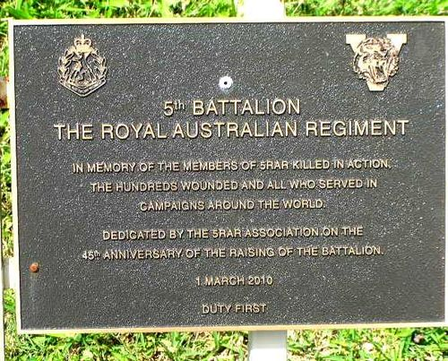 5th Battalion RAR Plaque / March 2013