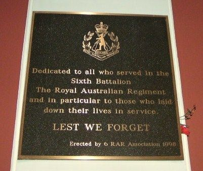 6th Battalion RAR Plaque