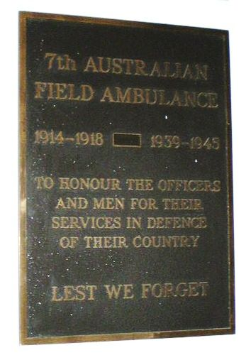 7th Field Ambulance Plaque