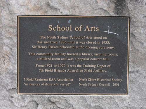 School of Arts Plaque Inscription  : October 2013