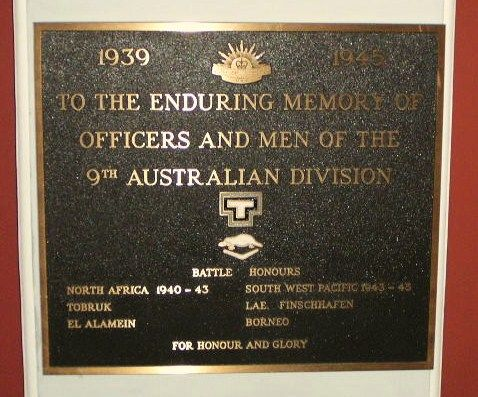 9th Australian Division Plaque