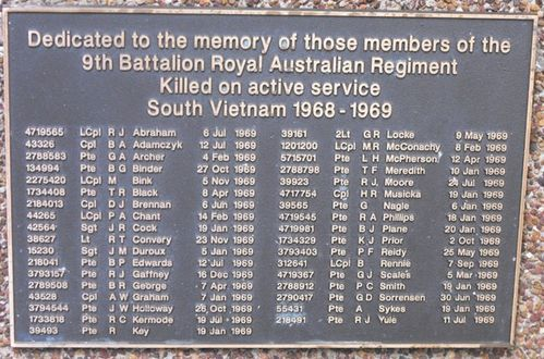 9th Battalion RAR Plaque