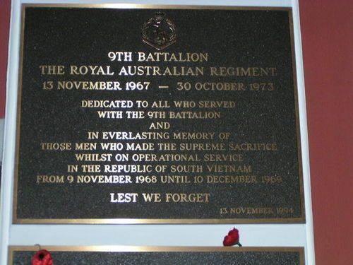 9th Battalion RAR Plaque Vietnam