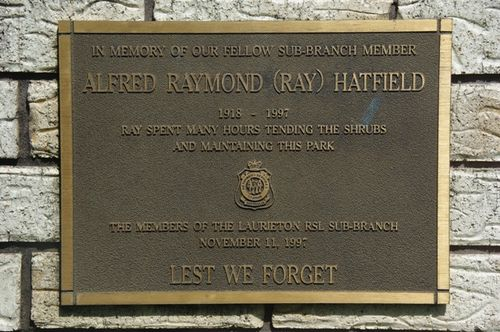 Ray Hatfield Plaque : June 2014