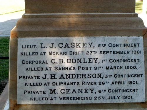 Allora Boer War Memorial Inscription 1