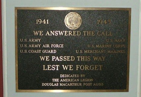 American Legion US Forces Plaque