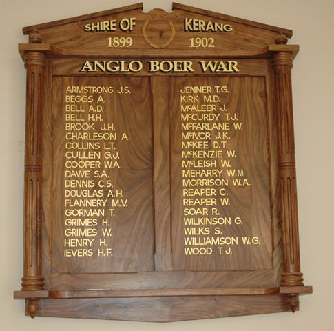 Anglo Boer War Honour Roll : 08-June-2013