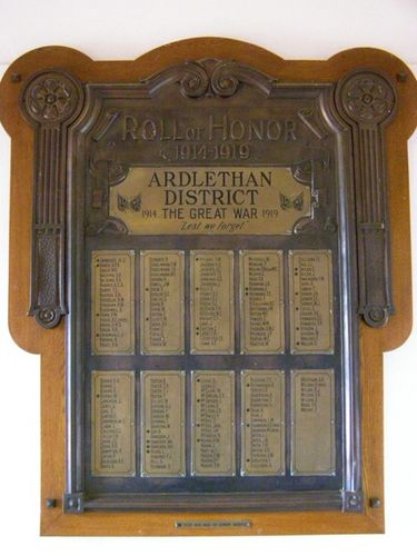 Ardlethan WW1 Honour Roll : 27-03-2014