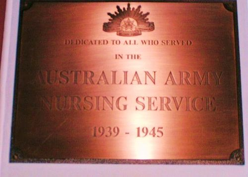 Australian Army Nursing Service WW2 Plaque