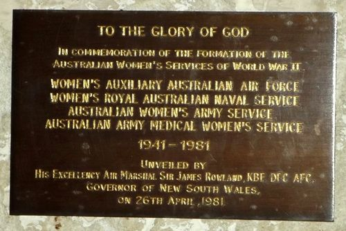 Australian Women`s Services Plaque : March 2014
