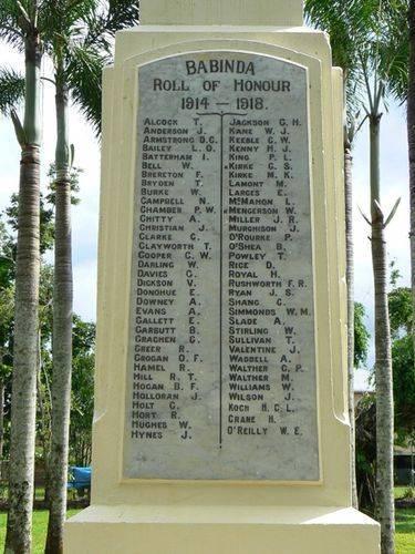 Babinda Roll of Honour