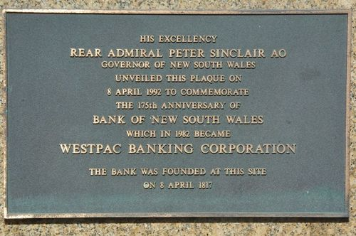 Bank of NSW 175th Anniversary Plaque : December 2013