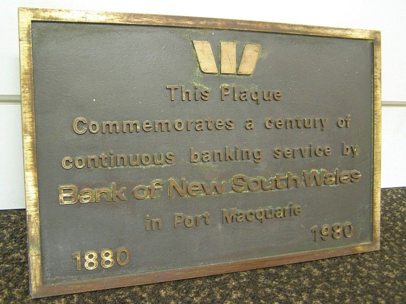 Bank Of NSW Plaque : 16-Septemeber-2014