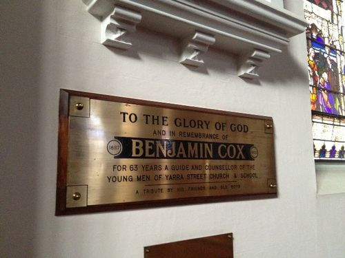 Benjamin Cox Plaque : November 2013