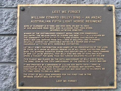 Billy Singh Plaque