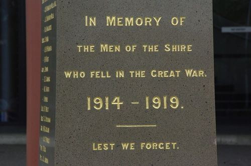 War Memorial Inscription : Feb 2014
