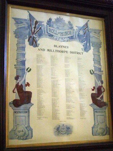 Blayney & Millthorpe Honour Roll : 25-03-2014