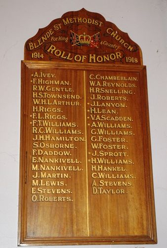Blende Street Methodist Church Honour Roll : 01-June-2013