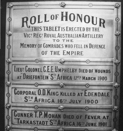 Boer War Honour Roll
