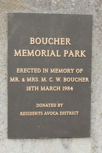 Boucher Memorial Park Inscription