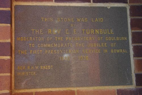 Bowral Presbyterian Jubilee Plaques : 19-May-2014