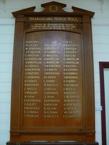 Briagolong Honour Roll