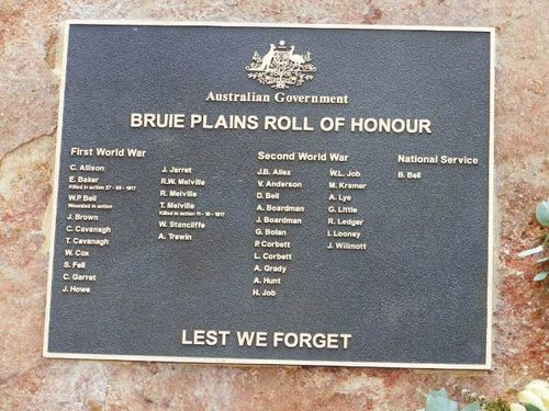 Bruie Plains Roll of Honour / April 2013