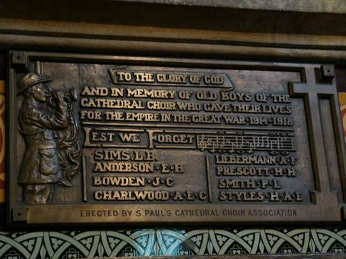 Cathedral Choir Old Boys Roll of Honour WW1