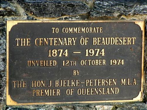 Centenary of Beaudesert Plaque