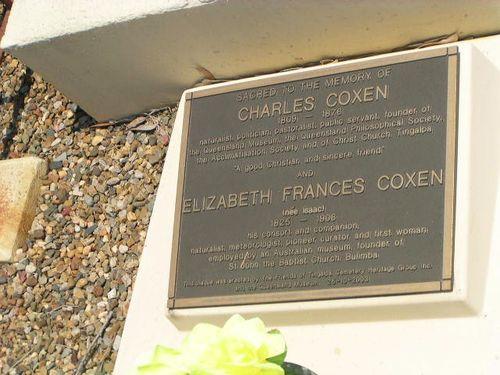 Charles + Elizabeth Coxen Inscription