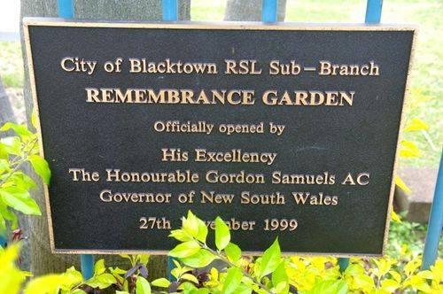 Remembrance Garden Plaque : Feb 2014