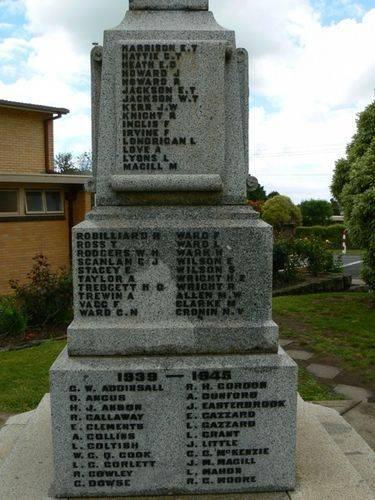 Cobden War Memorial   Right Side