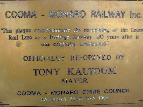 Cooma-Monaro Railway Plaque : 13=October-2012