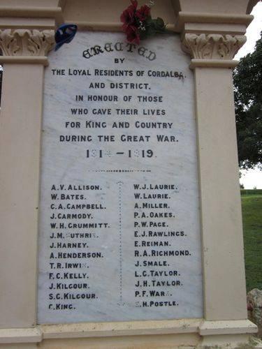 Cordalba War Memorial Inscription : 28-06-2012