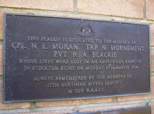 Moran, Mornement & Blackie Plaque : 16-July-2014
