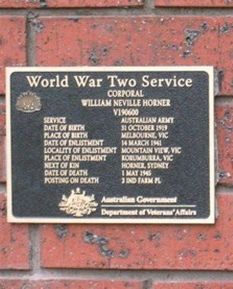Corporal William Neville Horner : 11-November-2011